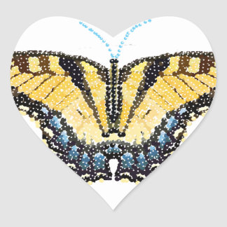 Tiger Swallowtail Butterfly Bedazzled Heart Sticker