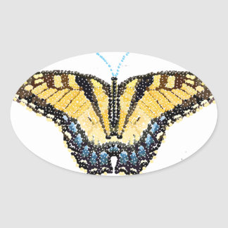 Tiger Swallowtail Butterfly Bedazzled Oval Sticker