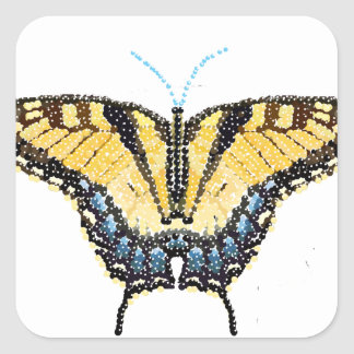 Tiger Swallowtail Butterfly Bedazzled Square Sticker