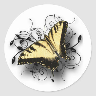 Tiger Swallowtail Butterfly Classic Round Sticker