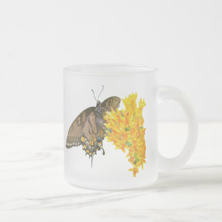 Tiger Swallowtail Butterfly - Dark Phase Frosted Glass Coffee Mug