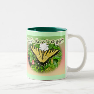 Tiger Swallowtail Butterfly Each Day is a Gift Coffee Mugs