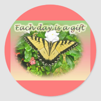 Tiger Swallowtail Butterfly Each Day is a Gift Round Stickers
