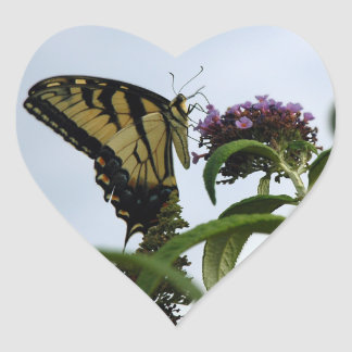 Tiger Swallowtail Butterfly Heart Stickers