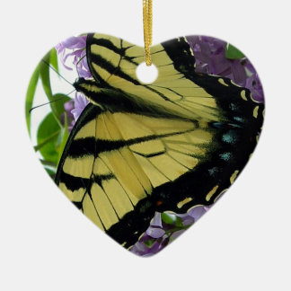Tiger swallowtail butterfly lilac photo ceramic ornament