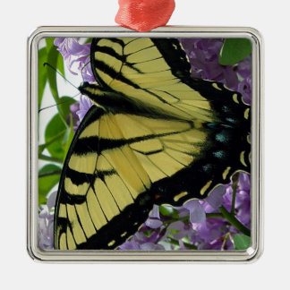 Tiger swallowtail butterfly lilac photo metal ornament