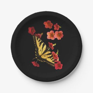 Tiger Swallowtail Butterfly on Flower Paper Plates 7 Inch Paper Plate