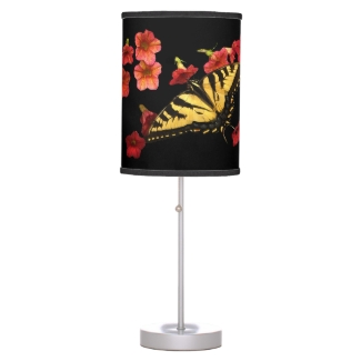 Tiger Swallowtail Butterfly on Flowers Desk Lamp