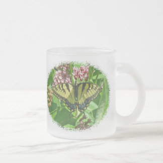 Tiger Swallowtail Butterfly on Milkweed 10 Oz Frosted Glass Coffee Mug