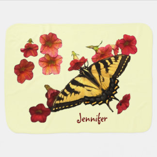 Tiger Swallowtail Butterfly on Red Flowers Baby Blanket