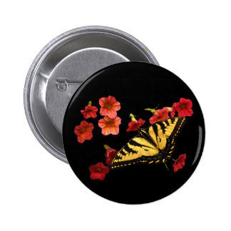 Tiger Swallowtail Butterfly on Red Flowers Buttons