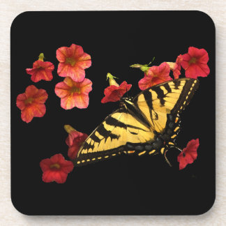Tiger Swallowtail Butterfly on Red Flowers Coaster