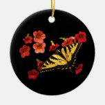 Tiger Swallowtail Butterfly on Red Flowers Double-Sided Ceramic Round Christmas Ornament