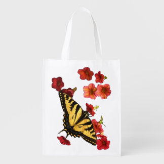 Tiger Swallowtail Butterfly on Red Flowers Grocery Bag