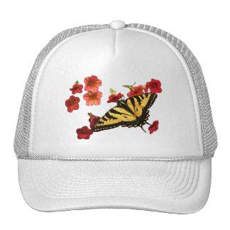 Tiger Swallowtail Butterfly on Red Flowers Trucker Hat