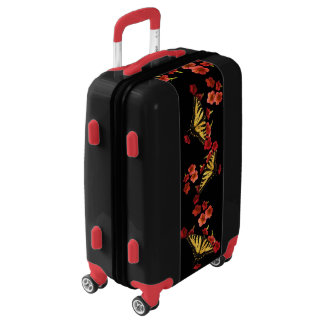 Tiger Swallowtail Butterfly on Red Flowers Luggage