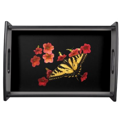 Tiger Swallowtail Butterfly on Red Flowers Service Trays