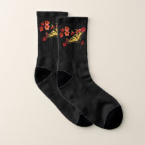 Tiger Swallowtail Butterfly on Red Flowers Socks