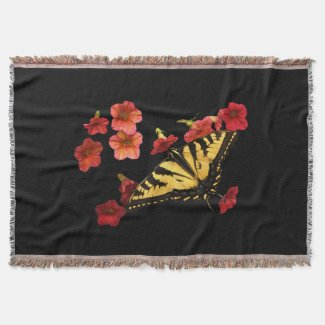 Tiger Swallowtail Butterfly on Red Flowers Throw Blanket