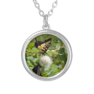 Tiger Swallowtail Butterfly on Wildflower Silver Plated Necklace