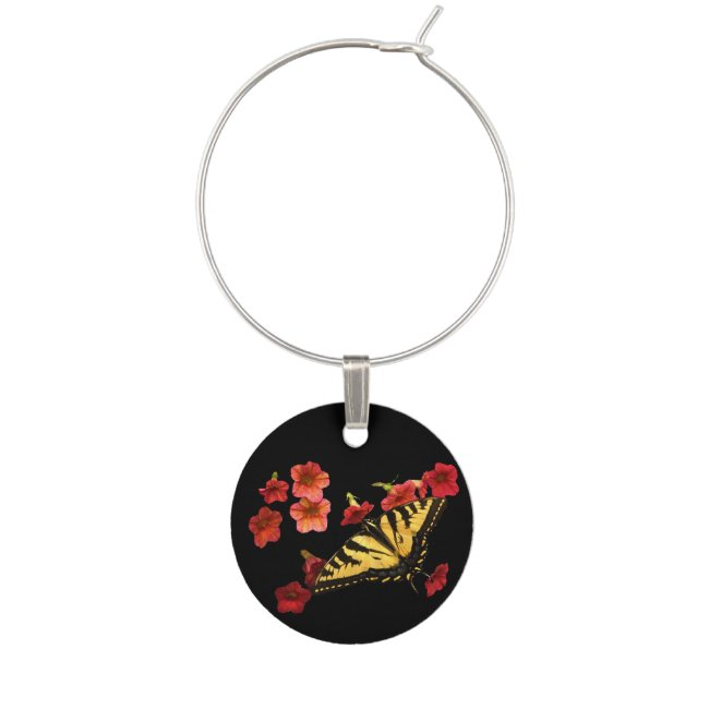 Tiger Swallowtail Butterfly Red Flowers Wine Charm