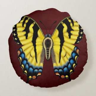 Tiger Swallowtail Butterfly Round Pillow