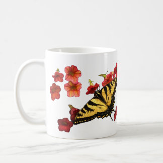 Tiger Swallowtail Butterfly with Red Flowers Classic White Coffee Mug