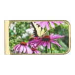 Tiger Swallowtail On Coneflower Gold Finish Money Clip