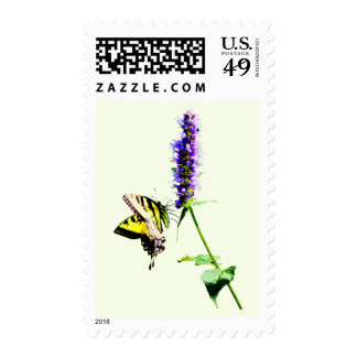 Tiger Swallowtail on Purple Salvia Stamp