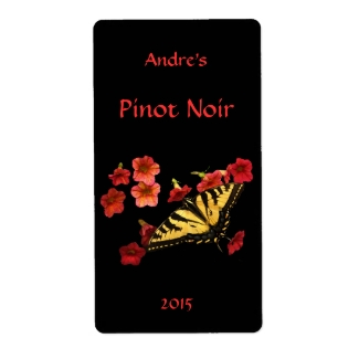 Tiger Swallowtail on Red Floral Wine Label
