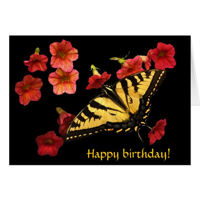 Tiger Swallowtail on Red Flowers Birthday