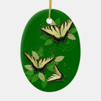 Tiger Swallowtails Double-Sided Oval Ceramic Christmas Ornament
