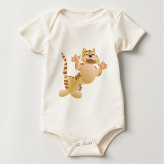 Tiger, the cat growls and threatens paws claws baby bodysuit