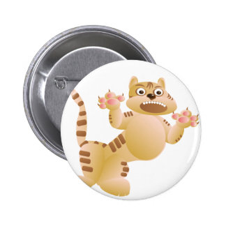 Tiger, the cat growls and threatens paws claws button