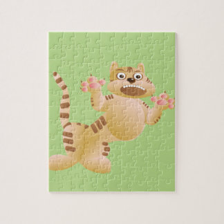 Tiger, the cat growls and threatens paws claws jigsaw puzzle