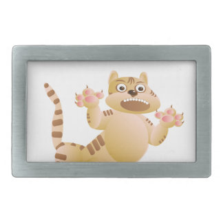 Tiger, the cat growls and threatens paws claws rectangular belt buckle