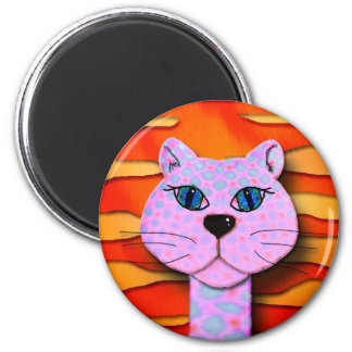 tiger the cattitude cat 2 inch round magnet