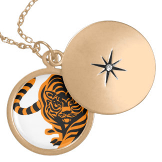 TIGER THE KING OF JUNGLE ROUND LOCKET NECKLACE