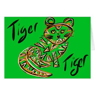 Tiger Tiger Greeting Card (Green)
