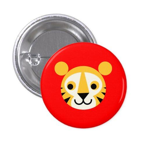 Tiger Tigers Big Cat Cats Cute Head Smile Pinback Buttons