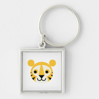 Tiger Tigers Big Cat Cats Cute Head Smile Keychains