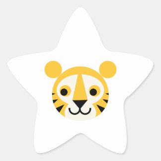 Tiger Tigers Big Cat Cats Cute Head Smile Star Sticker