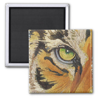 """Tiger Tiles"" Tiger Face Mosaic Watercolor 2 Inch Square Magnet"