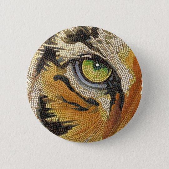 """""""Tiger Tiles"""" Tiger Face Mosaic Watercolor Button"""