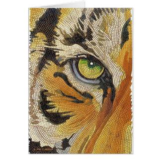 """Tiger Tiles"" Tiger Face Mosaic Watercolor Card"