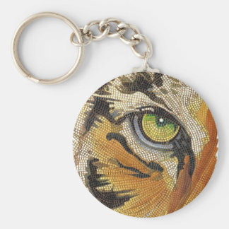 """""""Tiger Tiles"""" Tiger Face Mosaic Watercolor Keychain"""