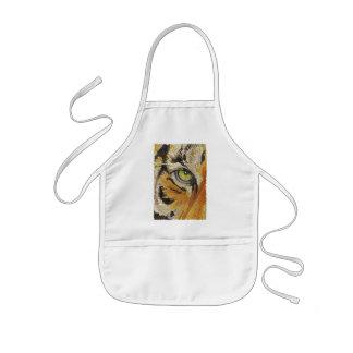 """Tiger Tiles"" Tiger Face Mosaic Watercolor Kids' Apron"