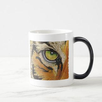 """""""Tiger Tiles"""" Tiger Face Mosaic Watercolor Magic Mug"""