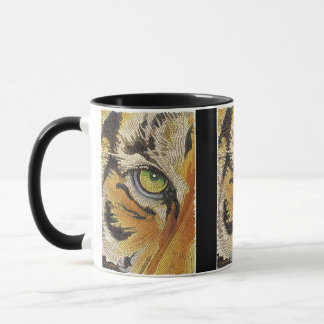 """""""Tiger Tiles"""" Tiger Face Mosaic Watercolor Mug"""