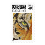 """""""Tiger Tiles"""" Tiger Face Mosaic Watercolor Postage Stamp"""